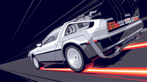 DeLorean Classic Night by Craig Drake (16 9 Borderless).png