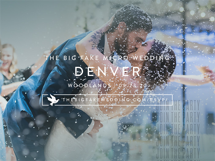 The Big Fake Wedding Denver title image with bride and groom