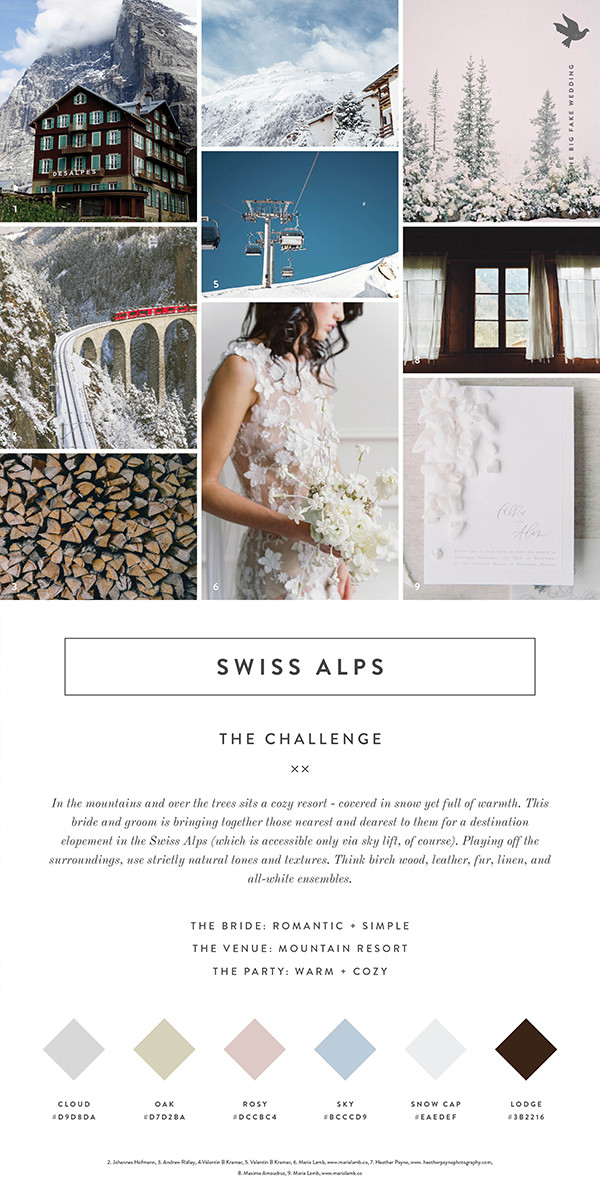 Swiss Alps inspired wedding inspiration board with color swatches