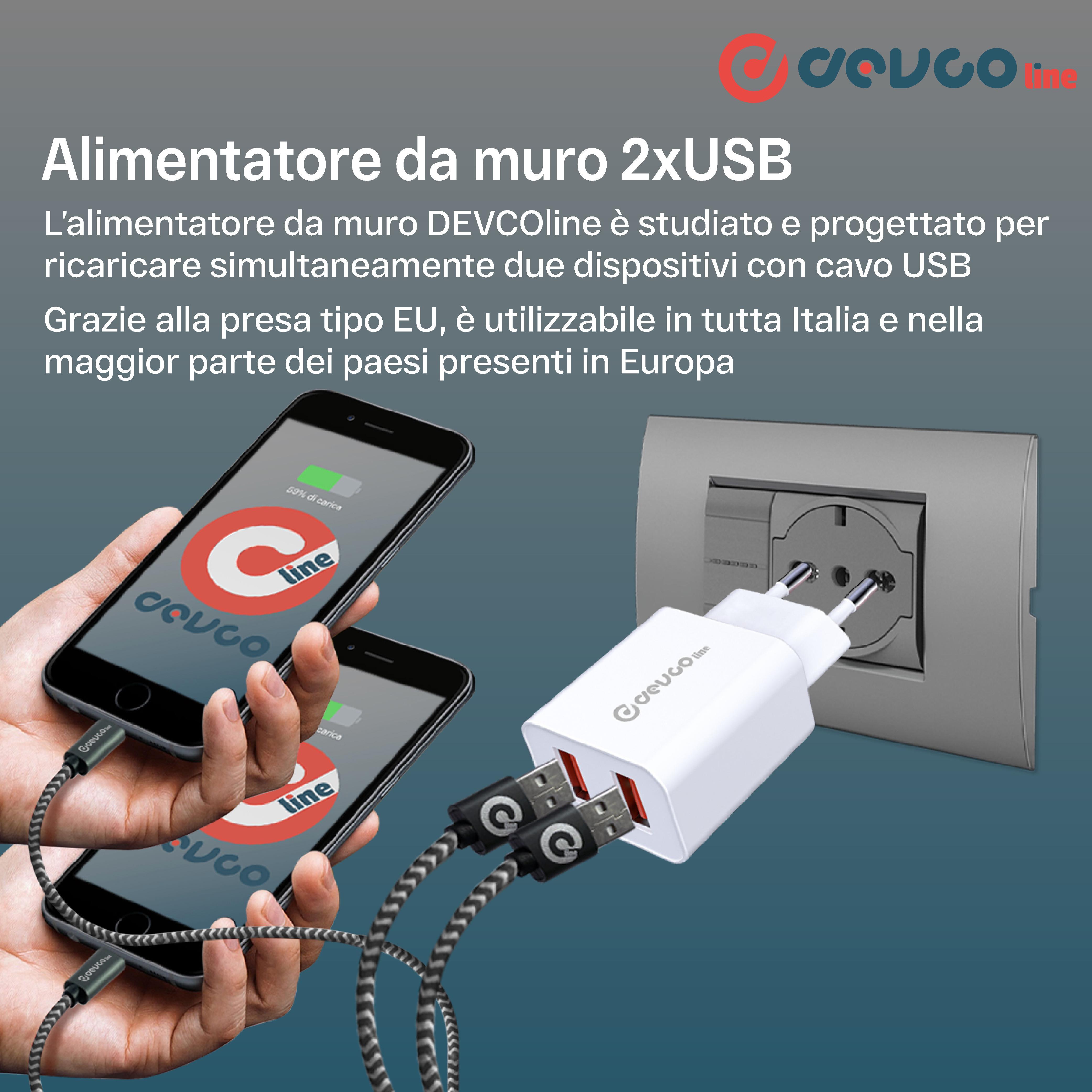 Alimentatore da muro 2 porte USB - DEVCOline - AT AM 2USB