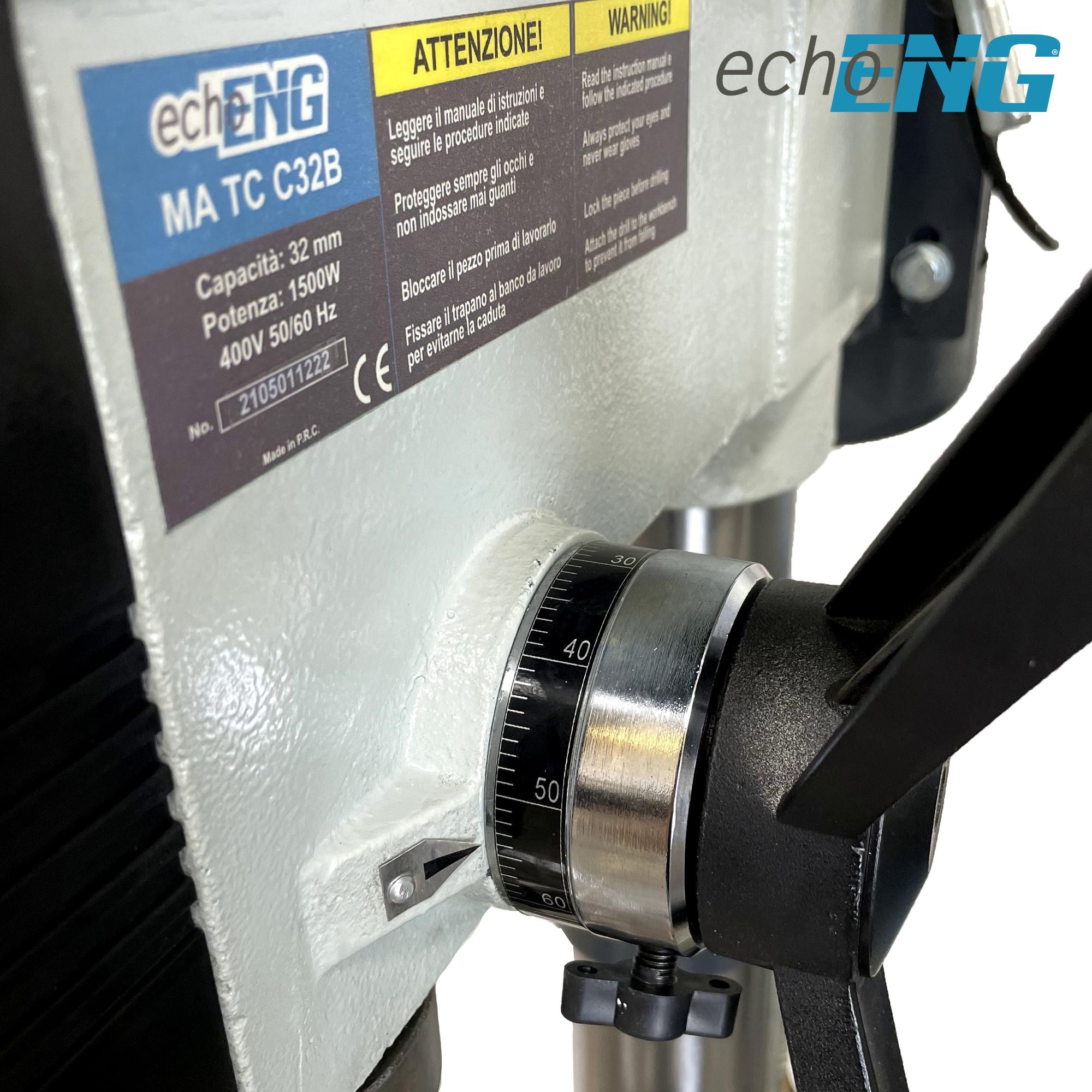 Trapano a colonna con trasmissione a cinghia 32mm velocità regolabile - echoENG
