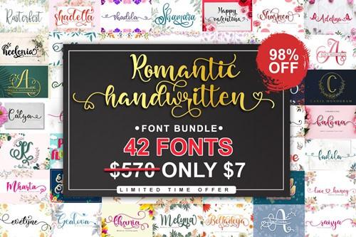 Romantic Handwritten Fonts Bundle (42 Premium Fonts)