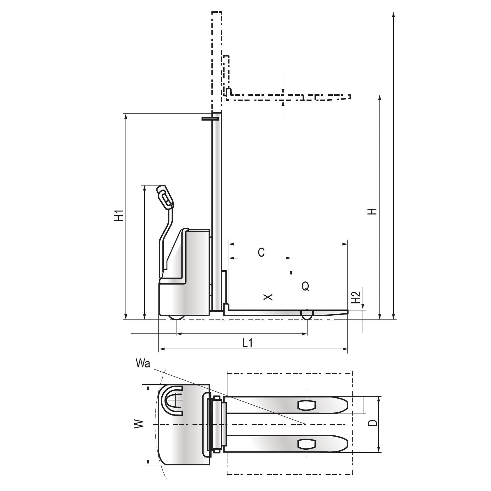 Transpallet sollevatore elettrico per pallet 1600mm 1500kg - MA SL EL16