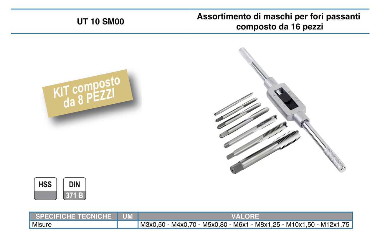 UT 10 SM00 Set filettatura metrica maschi giramaschi kit 8 pz HSS M3-M12