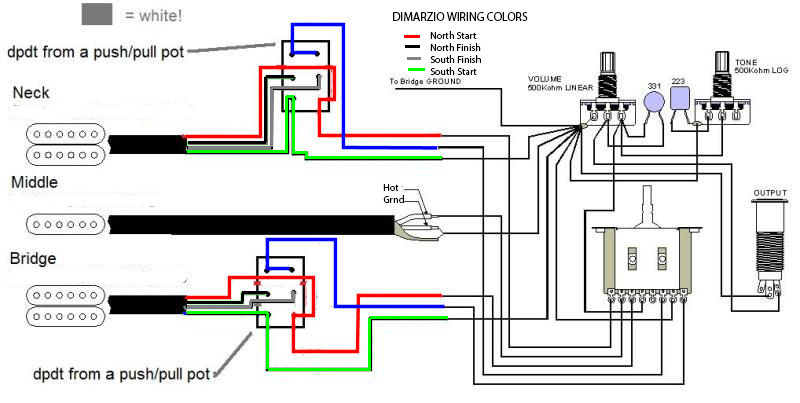 Hsh Series Parallel Wiring Questions, Dimarzio Pickup Wiring Diagram