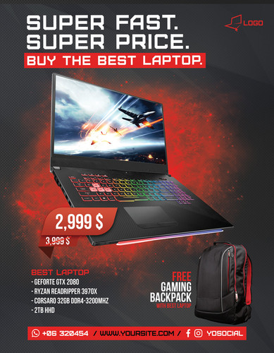 Computer Repair Flyer Poster 3 red
