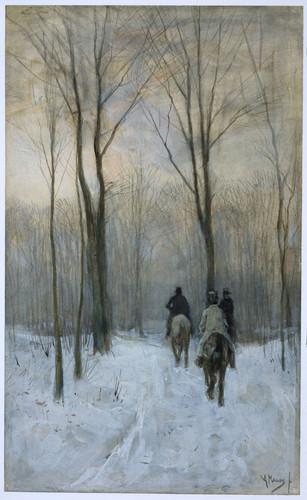 Mauve, Anton Всадники в снегу в Гаагском лесу, 1880, 441 mm x 267 mm, Рисунок, акварель