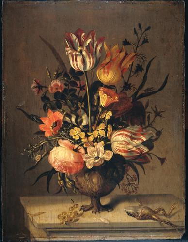 Marrel, Jacob Натюрморт с вазой с цветами и мертвой лягушкой, 1634, 40 cm x 30 cm, Дерево, масло