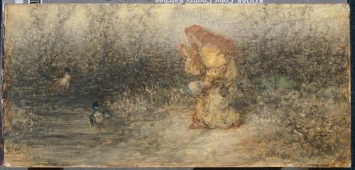 Maris, Matthijs Сказка, 1877, 18 cm x 38 cm, Дерево, масло