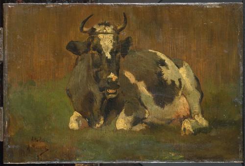 Mauve, Anton Лежащая корова, 1888, 15,5 cm х 25 cm, Дерево, масло