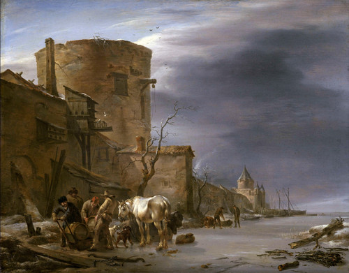 Городская стена Харлема зимой. 1647. 39х48. Гос музей Амстердам