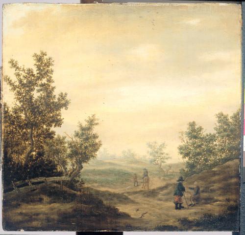 Beresteyn, Claes van Дорога в дюнах, 1684, 33 cm х 34,5 cm, Дерево, масло