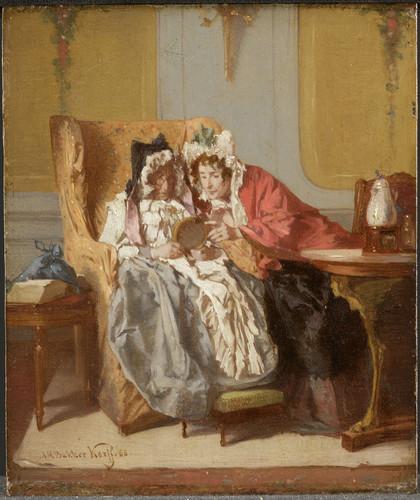 Bakker Korff, Alexander Hugo Две женщины расматривают картину, 1866, 14 cm x 11,5 cm, Дерево, масло