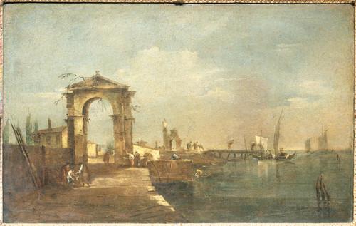 Guardi, Francesco Пейзаж с набережной и судами, 1780, 45 cm х 70 cm, Холст, масло