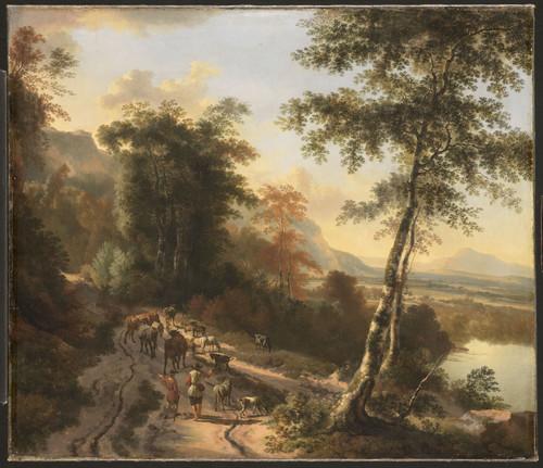 Hackaert, Jan Пейзаж с погонщиками скота, 1685, 88,5 cm х 103 cm, Холст, масло