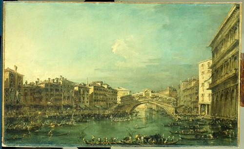 Guardi, Francesco Регата на Большом канале у моста Риальто в Венеции, 1793, 48 cm x 79 cm, Холст, ма
