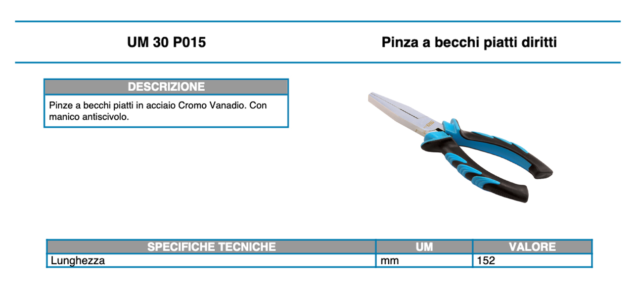 UM 30 P001 Pinze per seeger anelli elastici becchi piegati per interni 152 mm