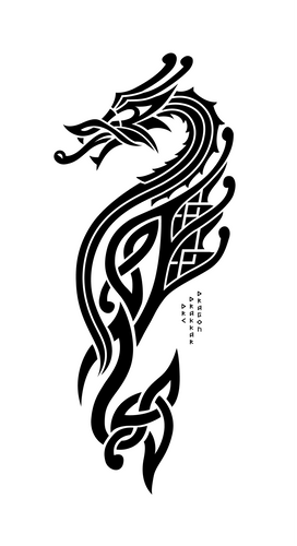 DRC Drakkar Dragon - Black on White - By Cryptographr