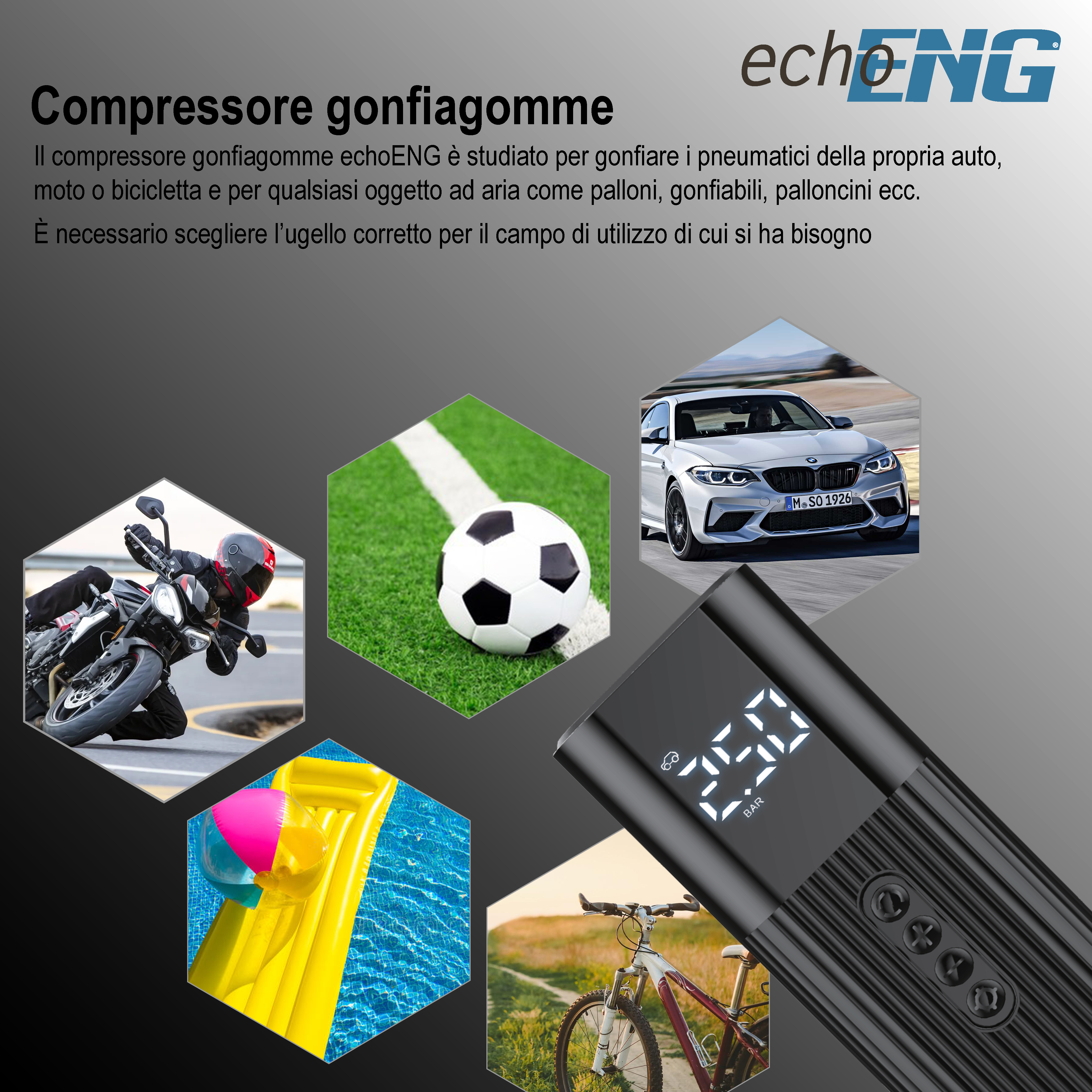 Kit avviatore di emergenza e compressore gonfiagomme - echoENG - UM 90 AVGG