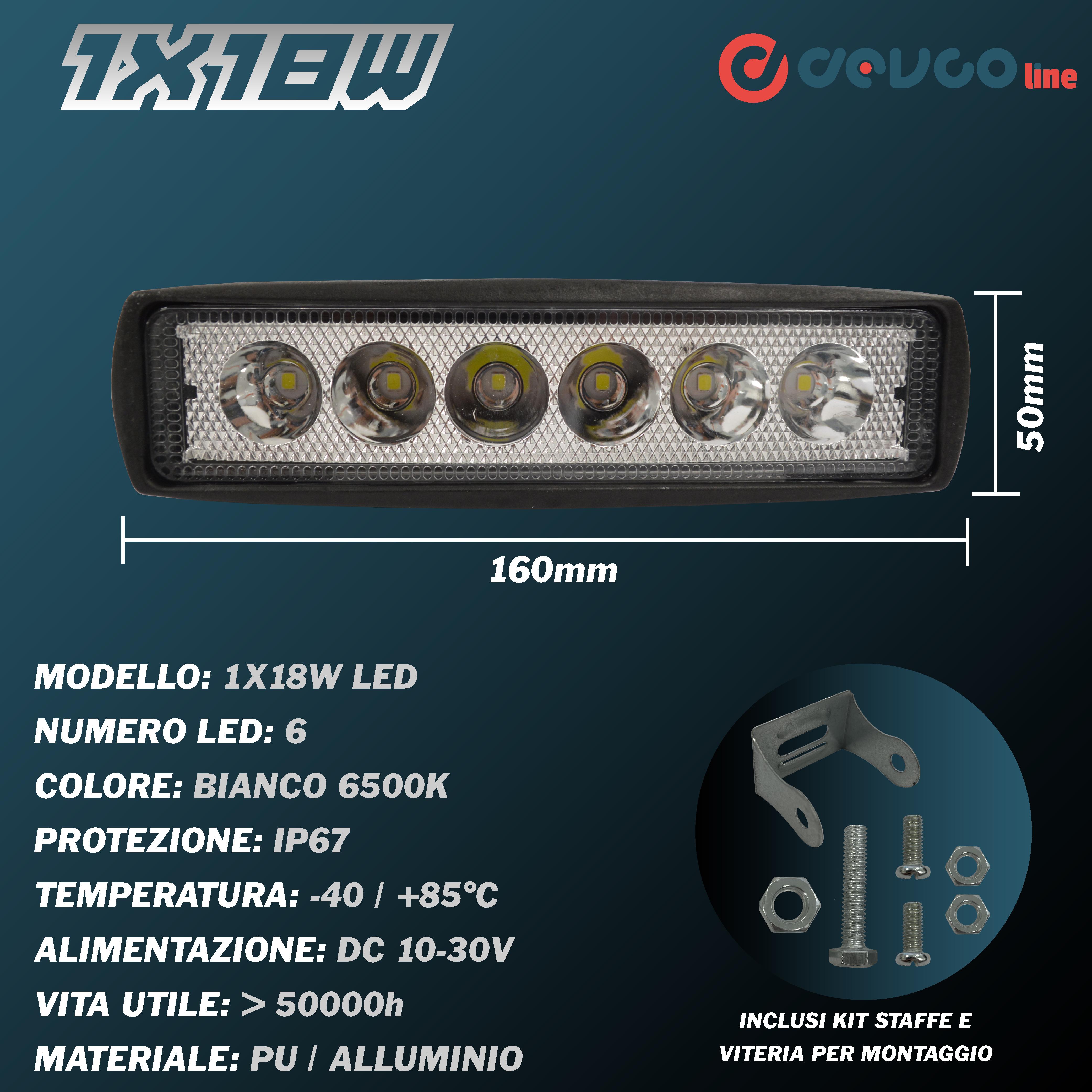 Faro LED quadrato 18W - DEVCOline - AR FL 1X18