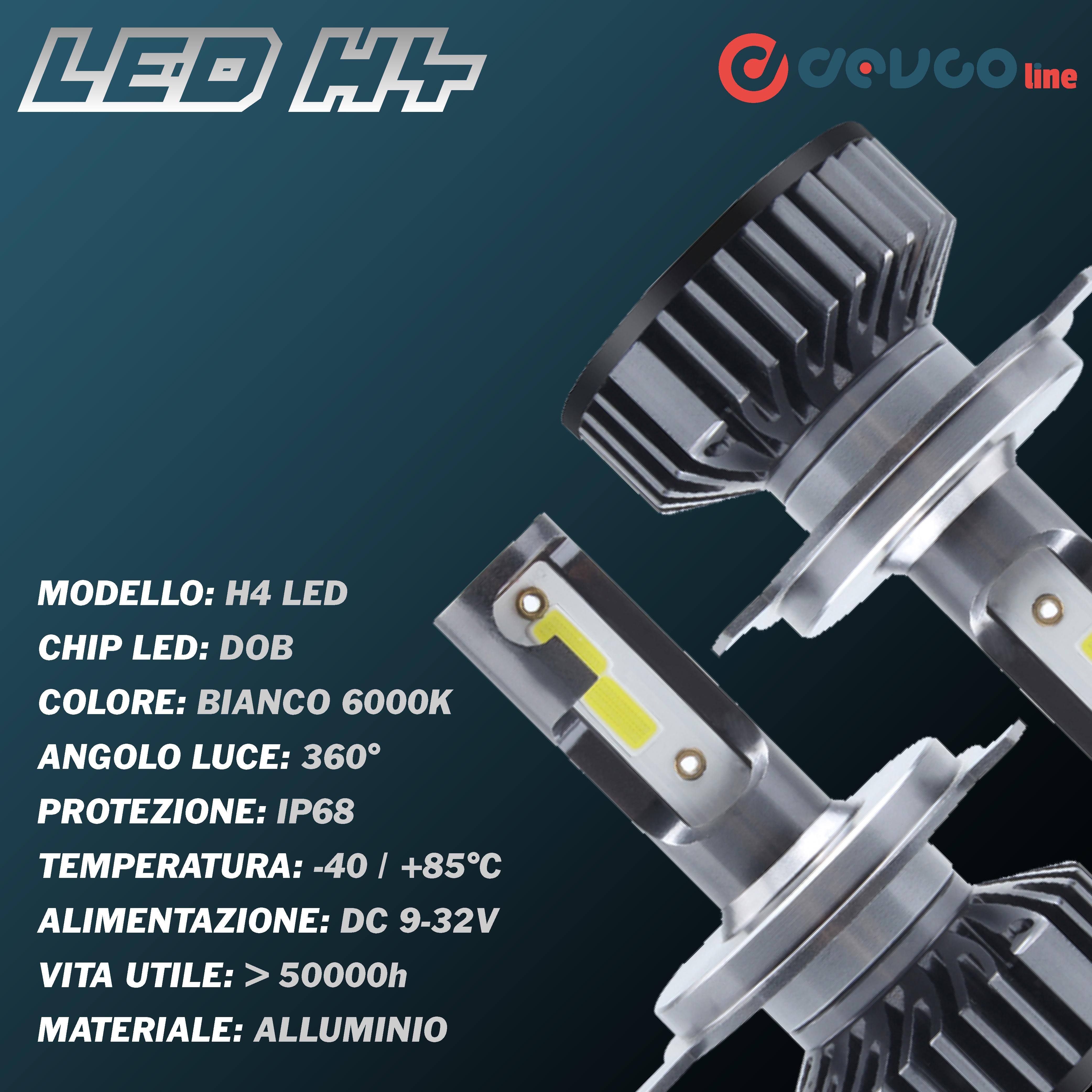 Coppia di lampadine LED H4 con mini centralina - DEVCOline - AR FL 00H4