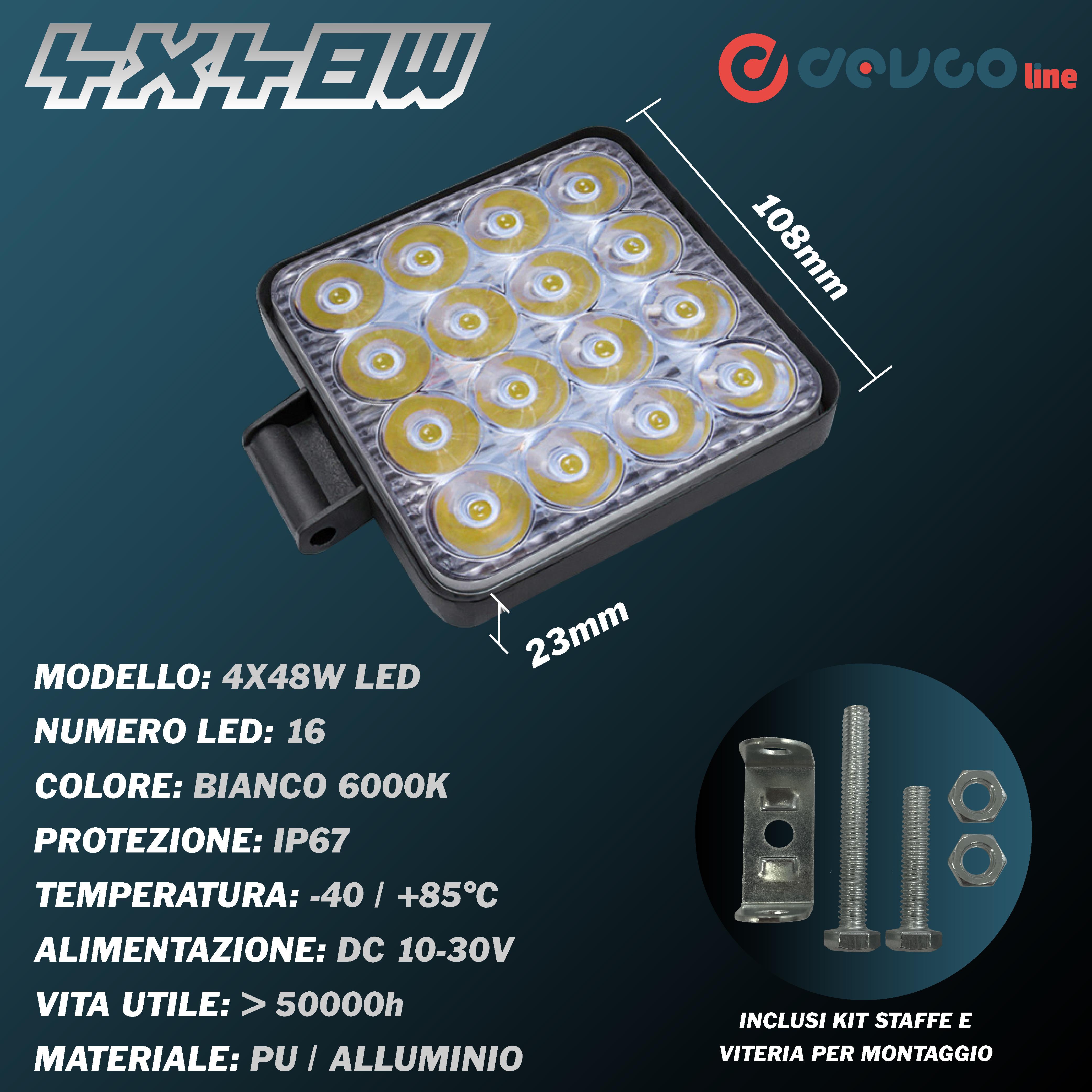 Fari LED quadrati 48W kit da 4 pezzi - DEVCOline - AR FL 4X48