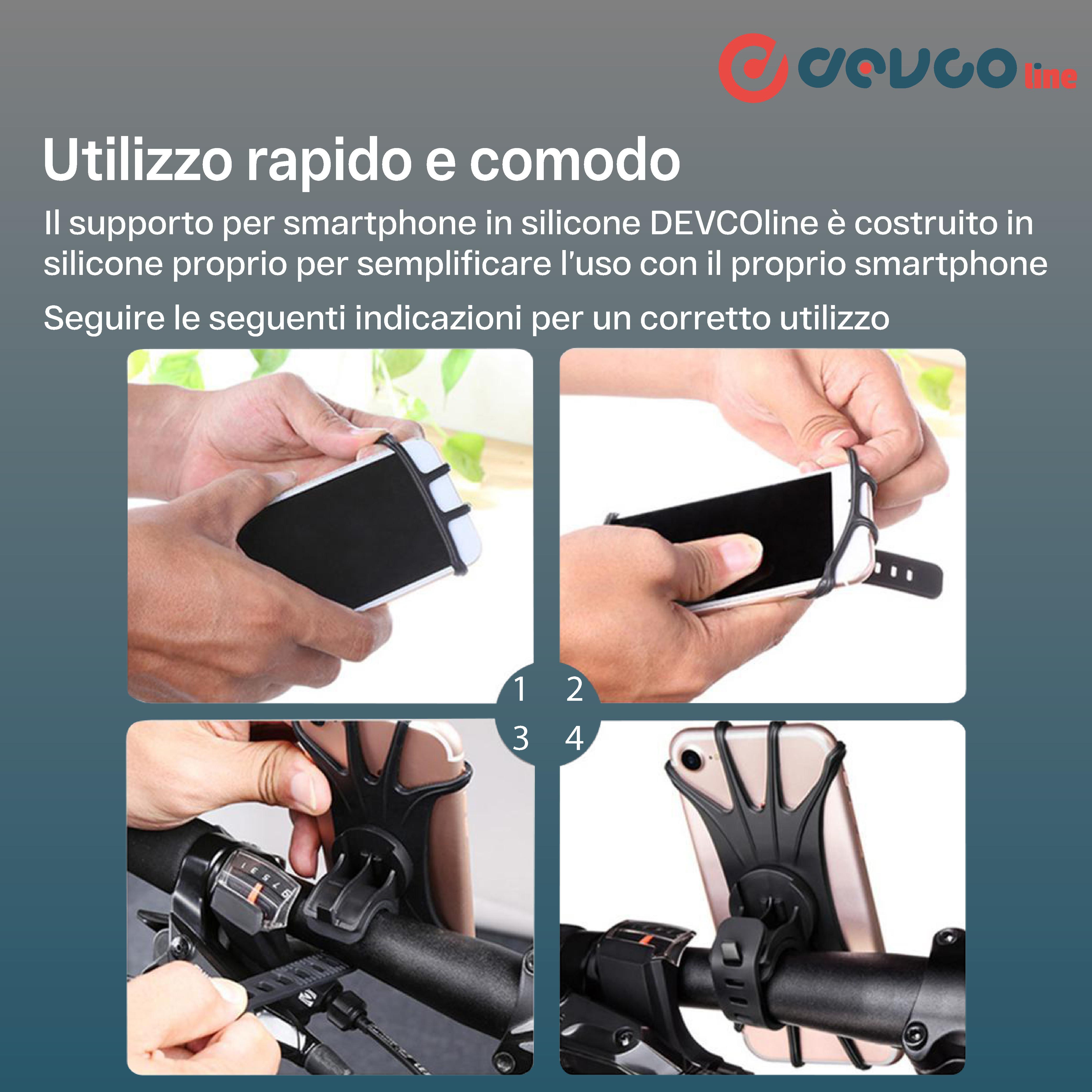 Supporto per smartphone supporto per telefono universale in silicone per bici