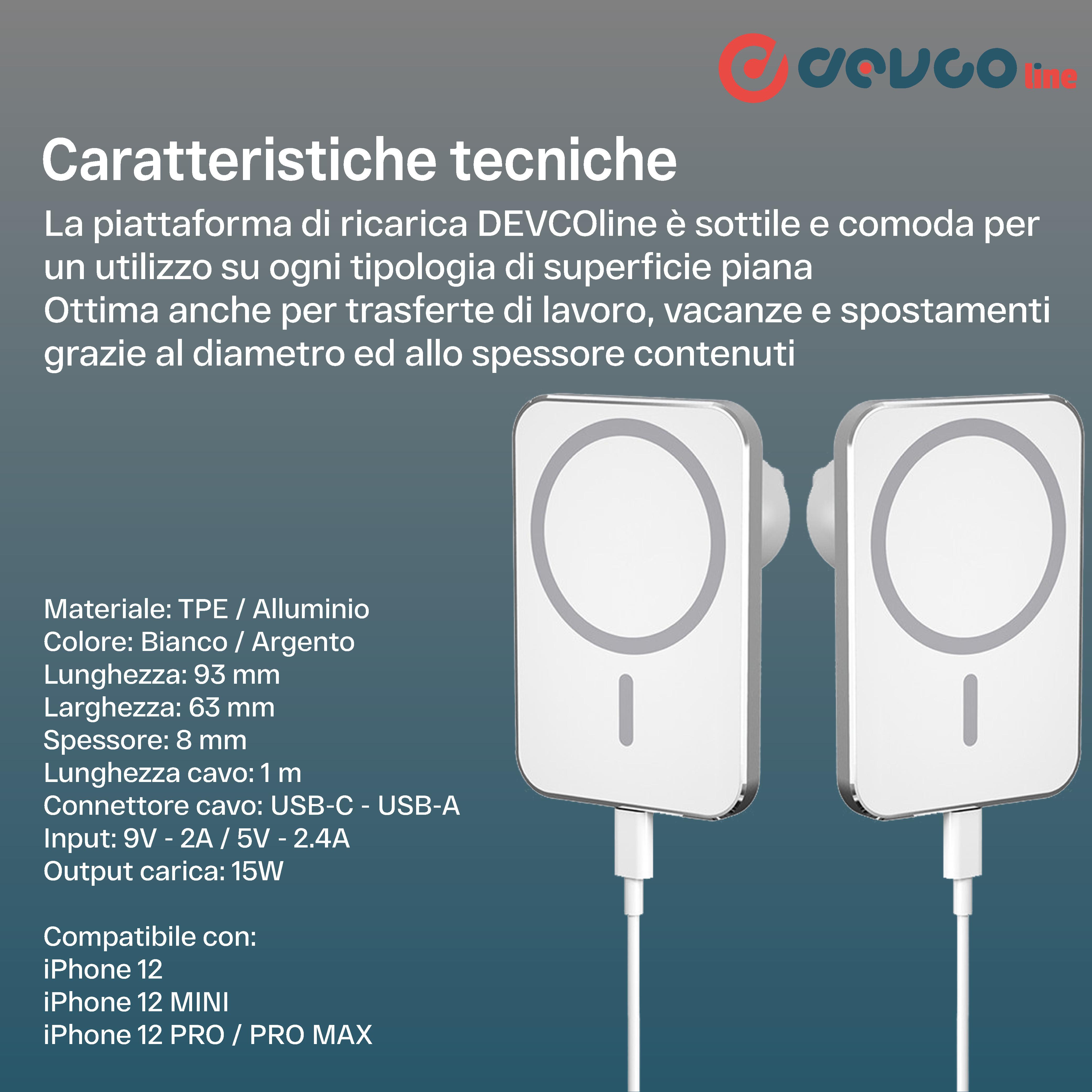 Supporto per caricabatterie da auto wireless magnetico caricatore da 15W