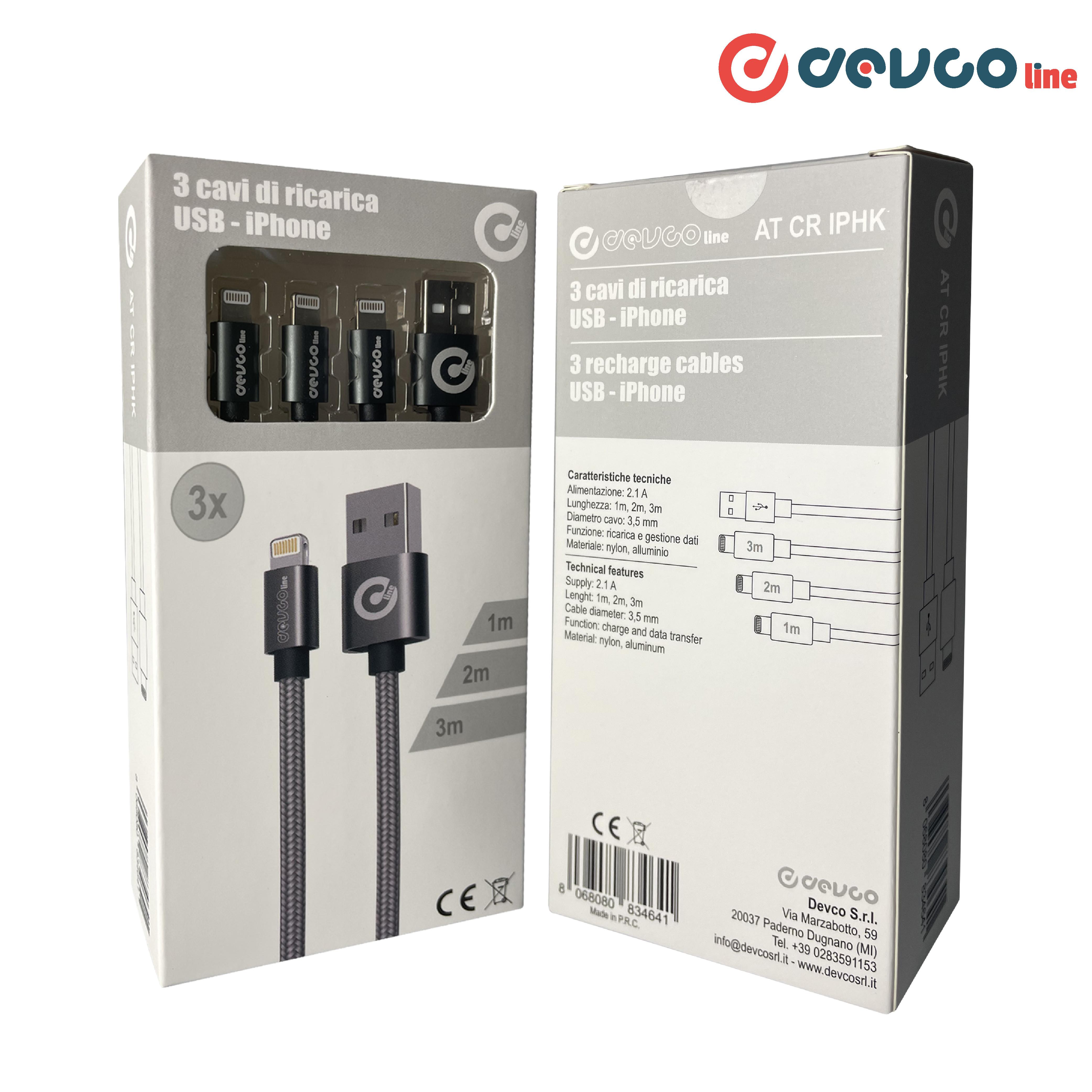 Kit set di 3 cavi USB per iPhone [1 m, 2 m, 3 m] attacco USB-A / Lightning