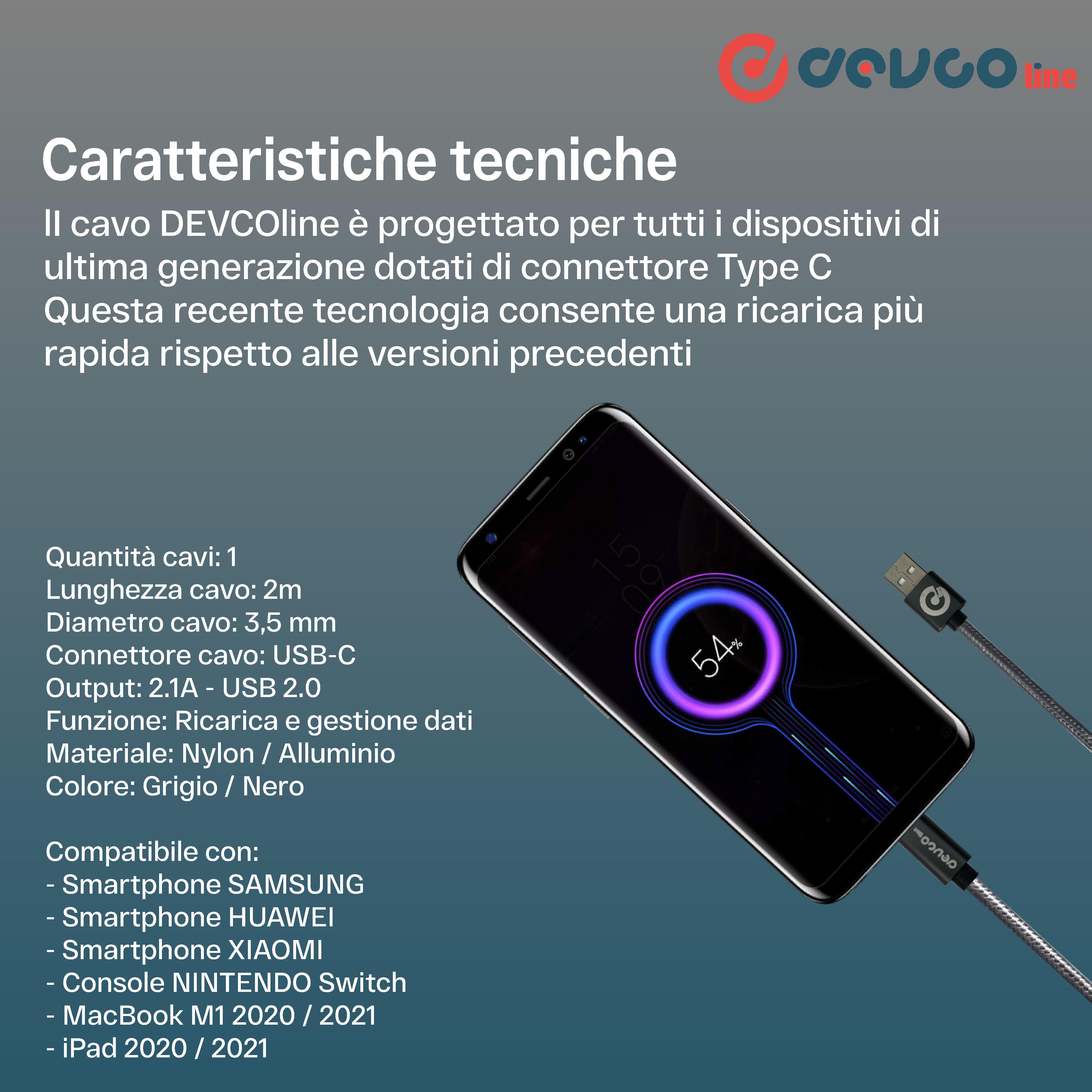 Cavo USB per Smartphone ricarica rapida cavo carica attacco USB-A / USB-C