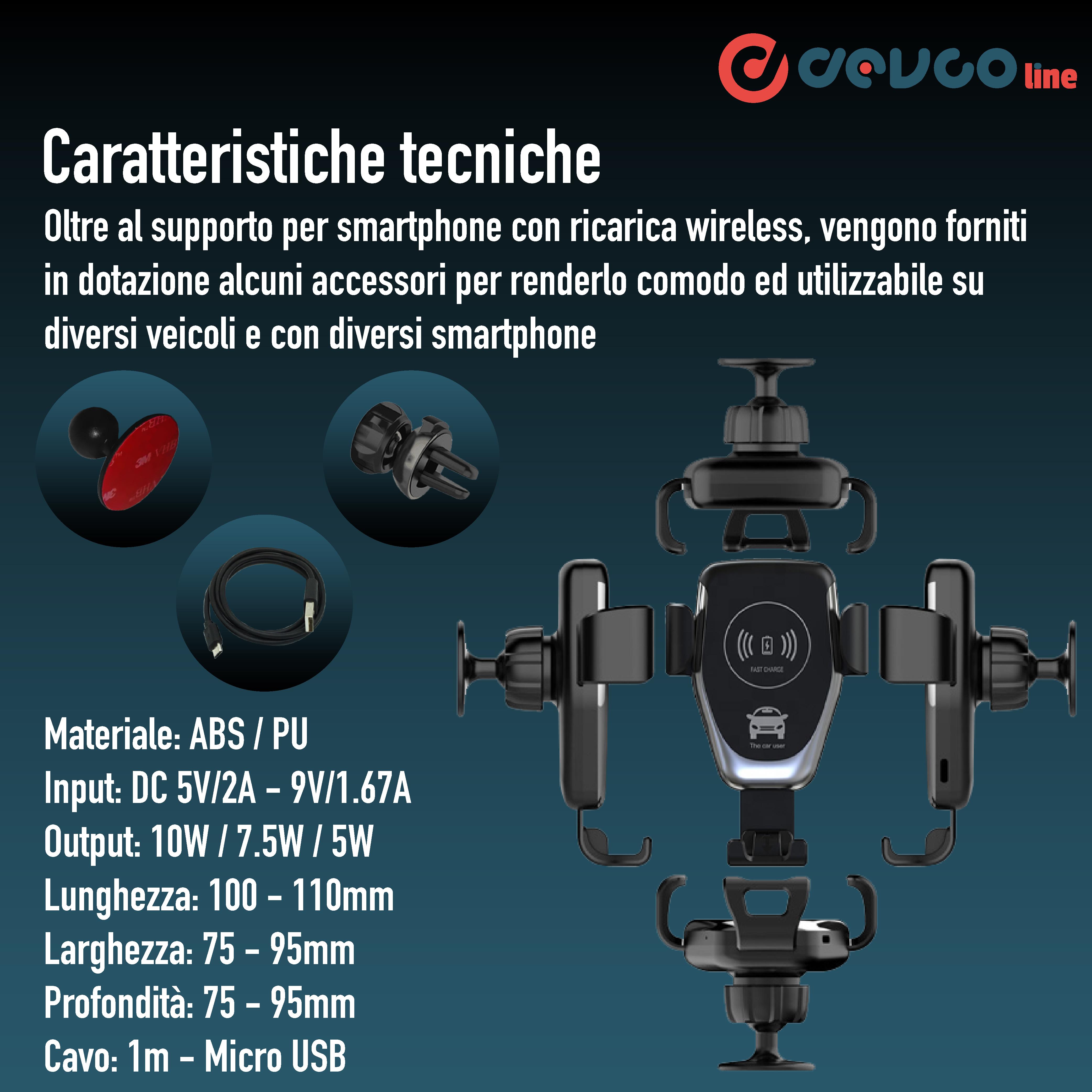 Supporto telefono con carica wireless caricatore per auto