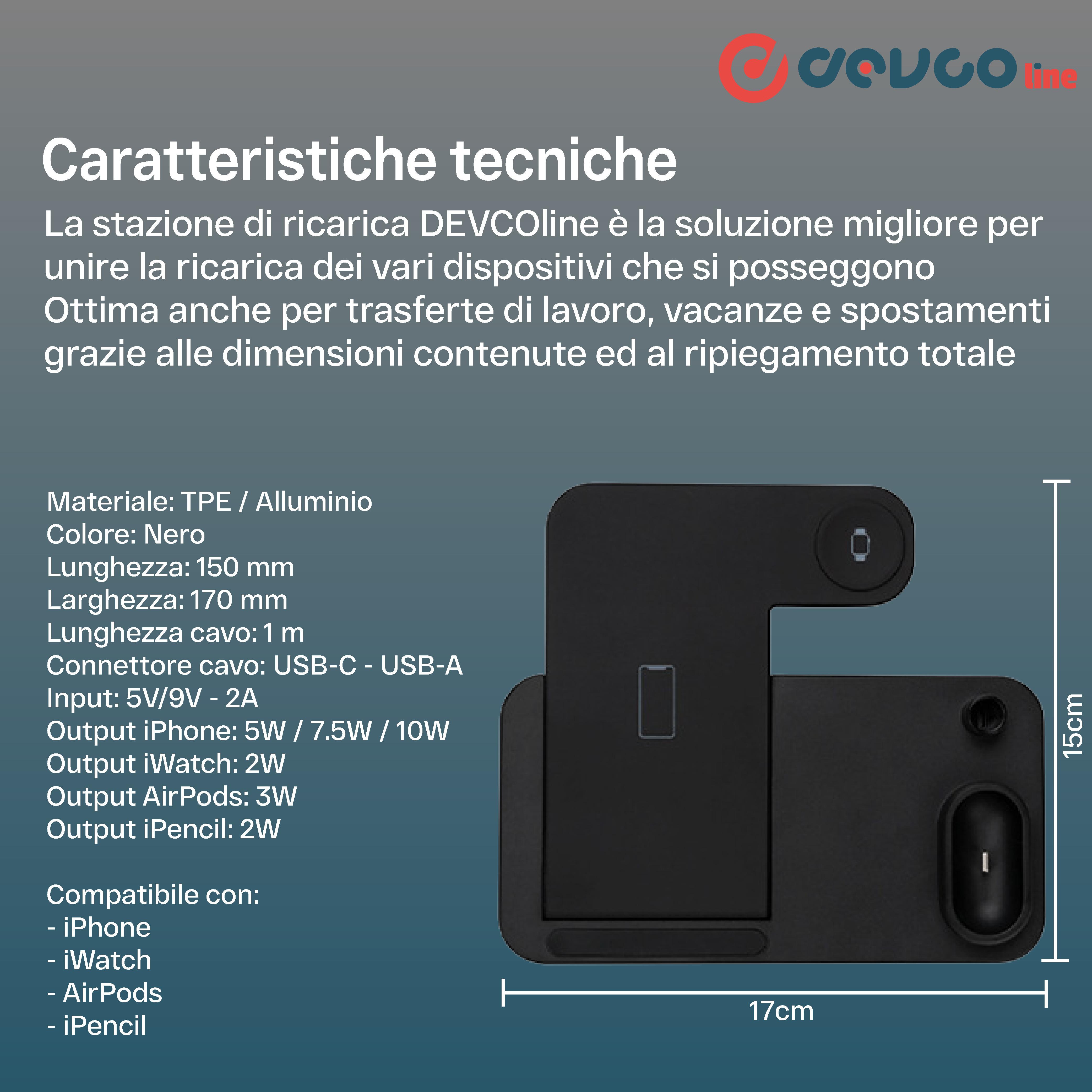 Stazione supporto di carica 4 in 1 compatibile con iPhone/iWatch/AirPods/iPencil