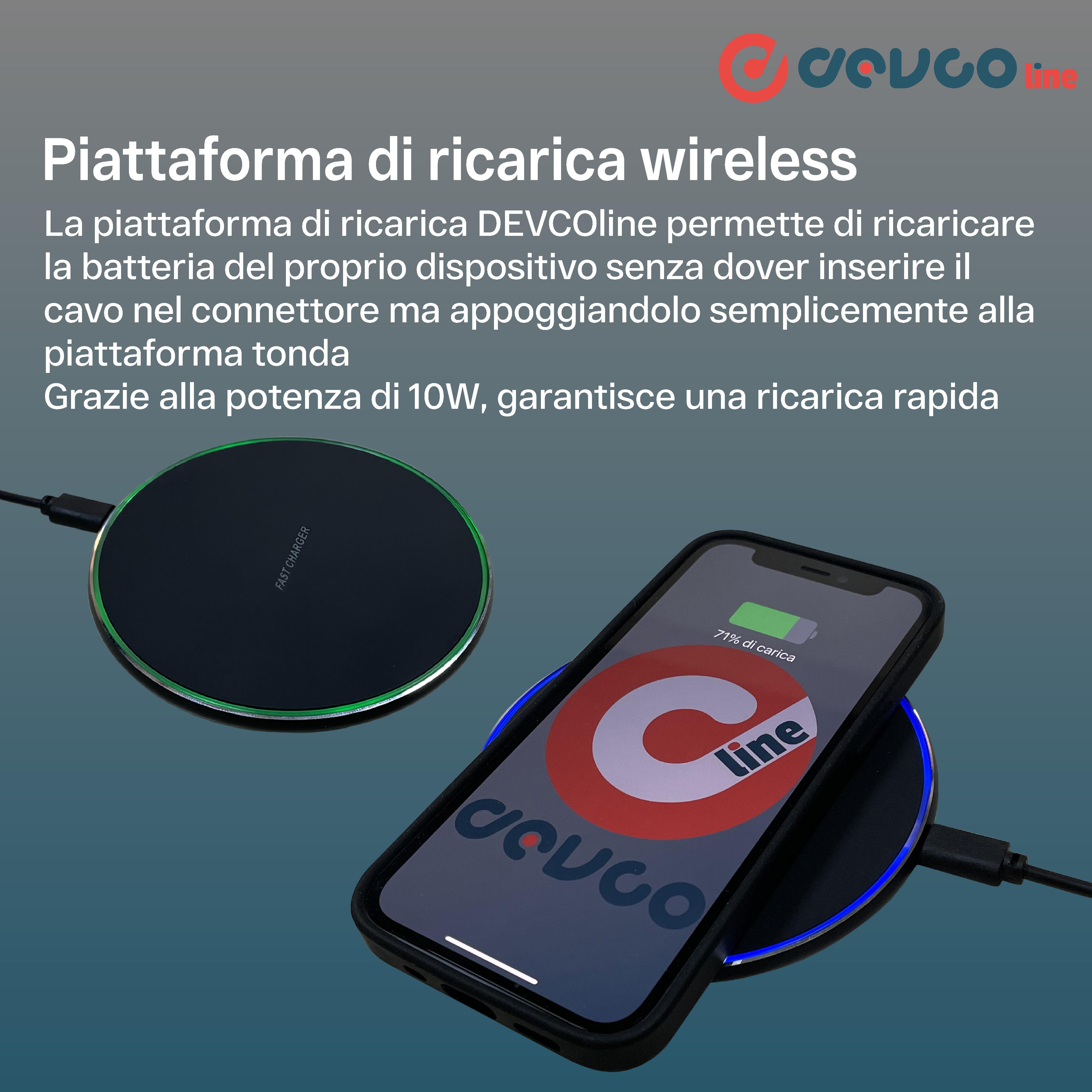 Caricatore wireless caricabatterie 10W compatibile con iPhone e smartphone