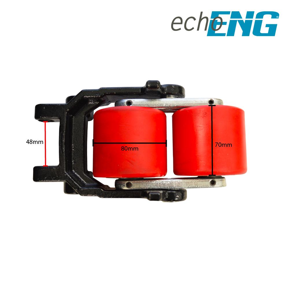 Coppia rulli doppi in PU ricambio per transpallet 80x70mm echoENG - MA SL RCXX-4